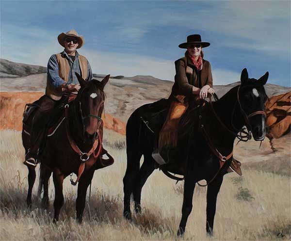 an oil painting of two horse riders in the field