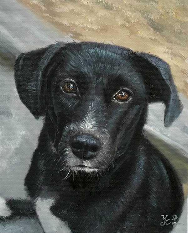 an oil painting of a black dog with brown eyes