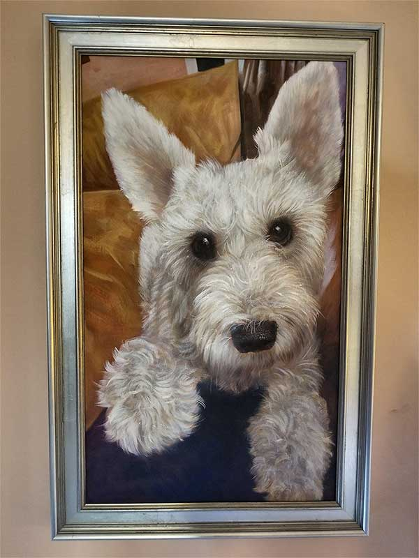 an oil painting of a little white dog