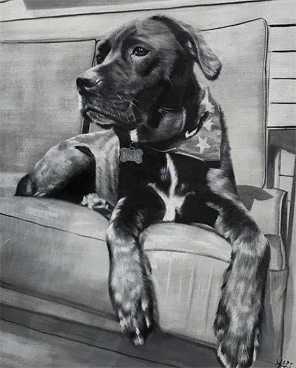 an oil painting of a dog on a couch black and white