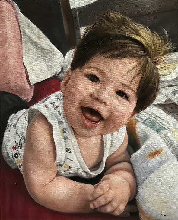an oil painting of a child smiling