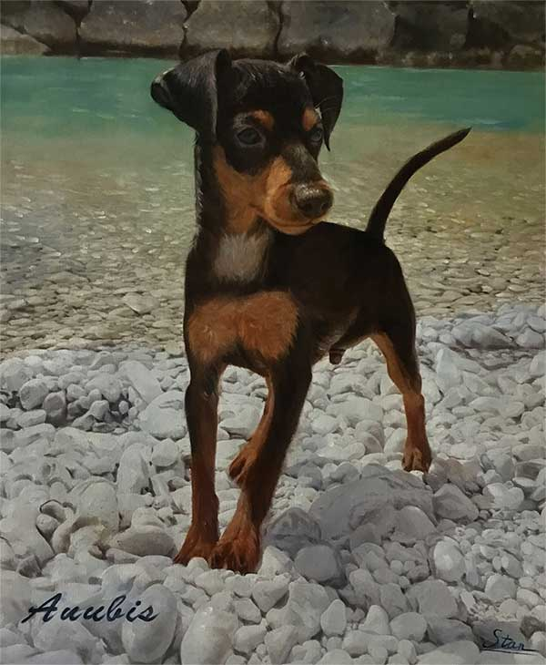 an oil painting of a tiny dog by the riverside rocky ground