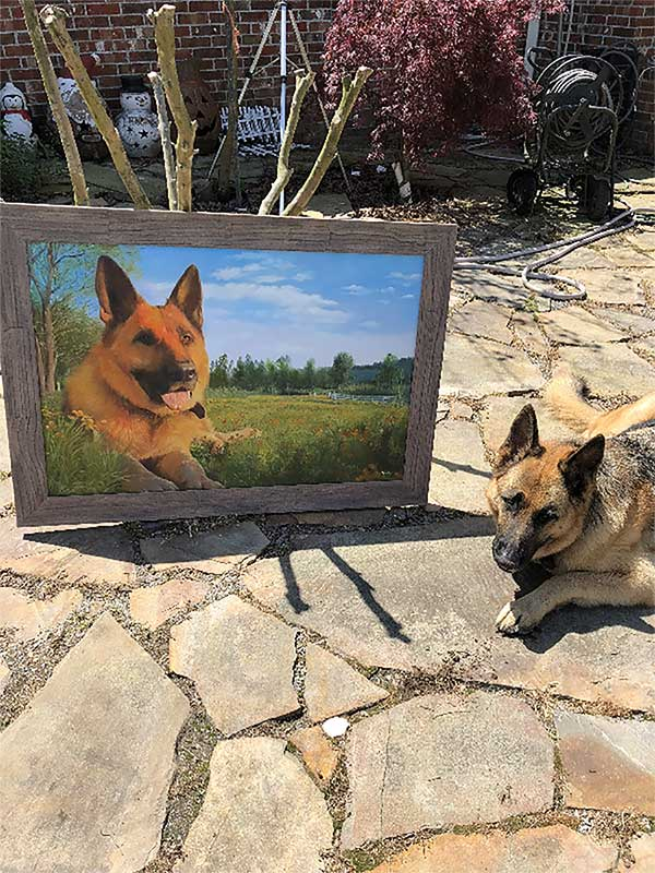an oil painting of a german shepherd green field blue sky
