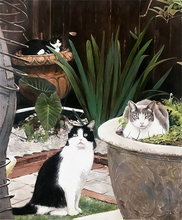 oil painting cats in the garden