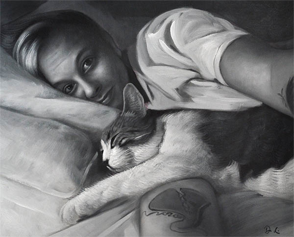 an oil painting of a cat and its owner sentimental