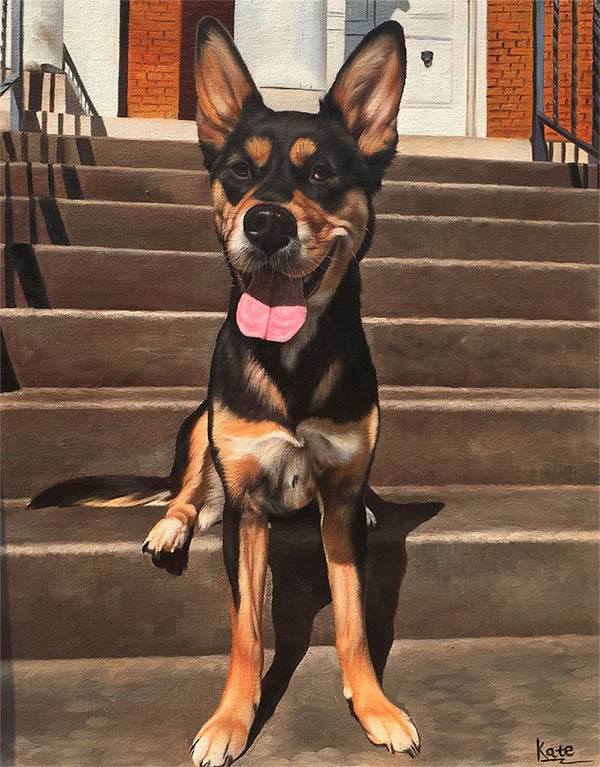 an oil painting of a german shepherd puppy