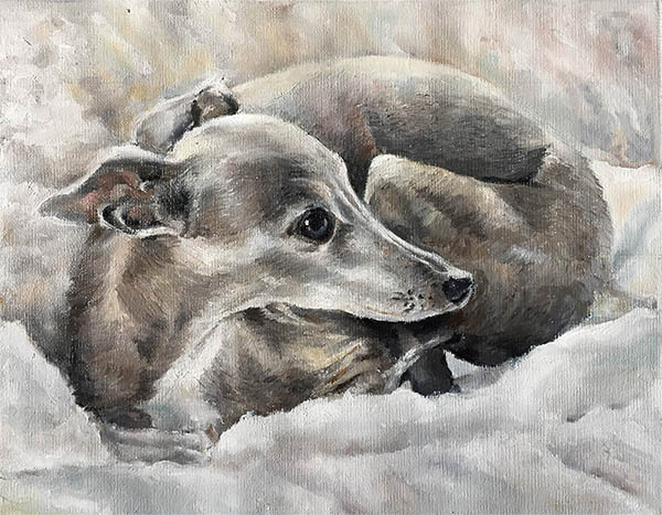 an oil painting of a dog in a bed