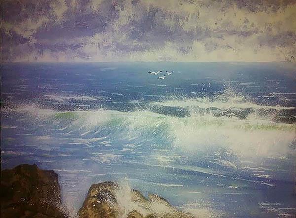 handmade painting of a sea