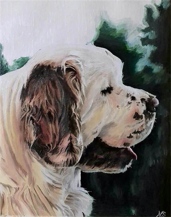 handmade oil painting of a big white dog