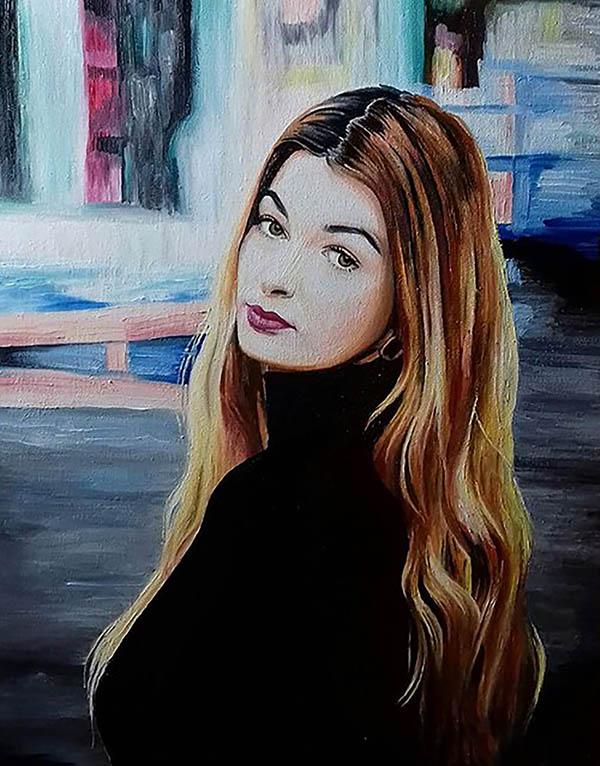 ritratto ragazza olio da fotografia