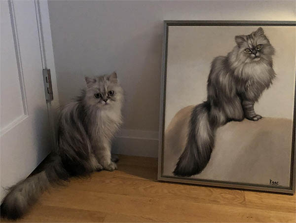 an oil painting of a Persian cat
