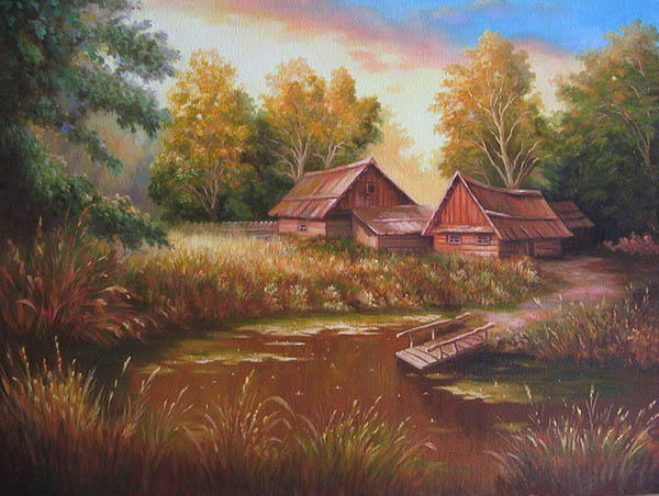 realistic painting of a house