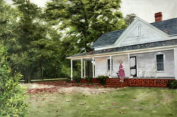 an oil painting of a house and a lady old vintage