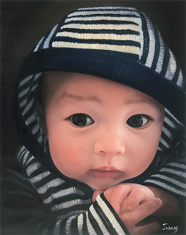 an oil painting of a child in a hoodie