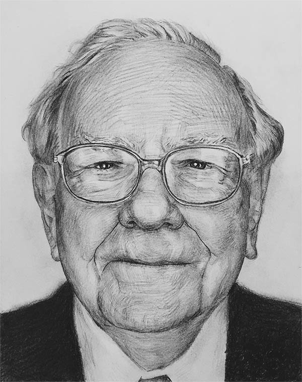 a charcoal drawing of an elder man