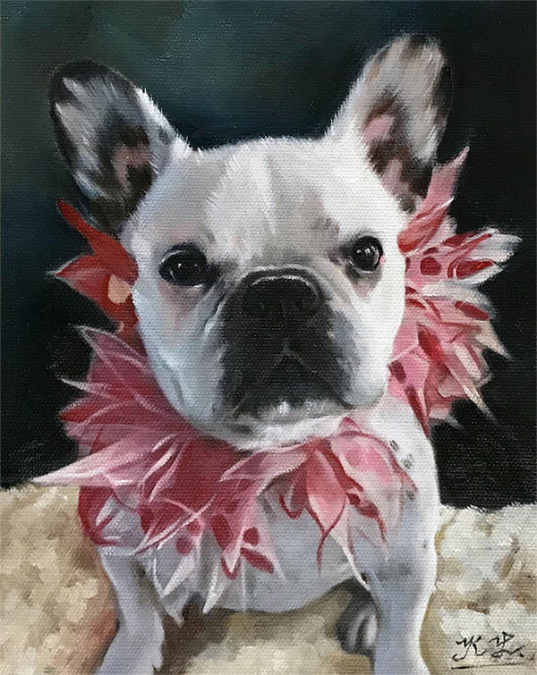an oil painting of a cute doggy dress flower magenta pink