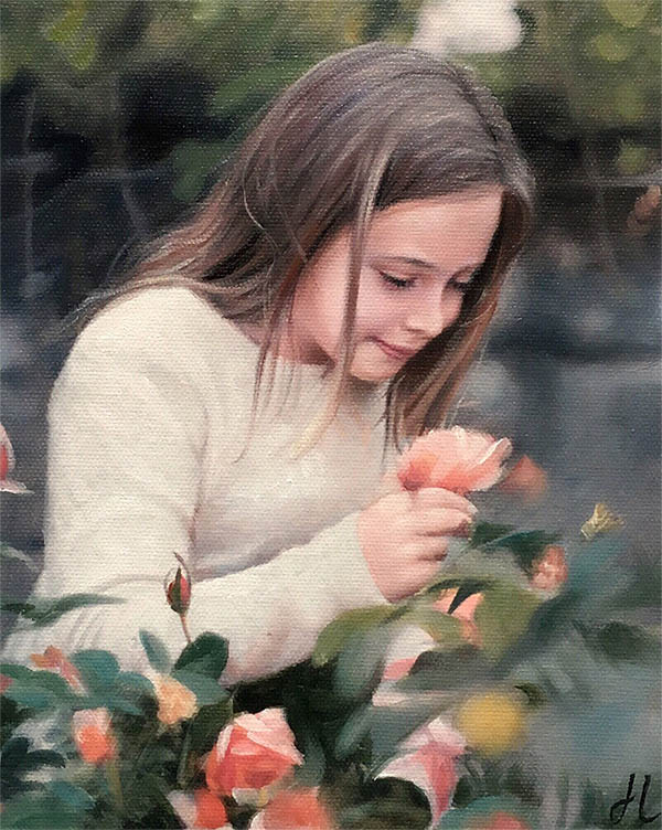 an oil painting of a girl roses