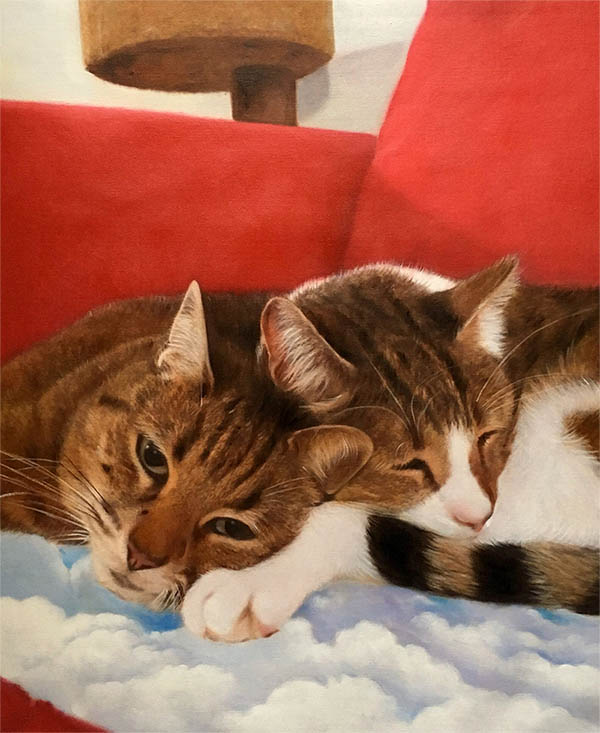 an oil painting of cats sleeping on a cloudy pillow
