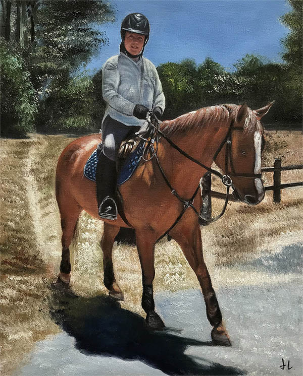 an oil painting of a brown horse and a jokey