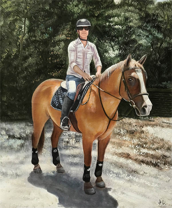 an oil painting of a horse brown jokey