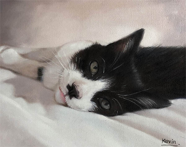 an oil painting of a black and white cat