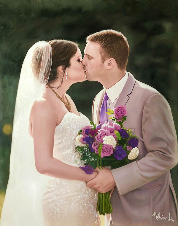 an oil painting of a kissing wedding couple purple flowers