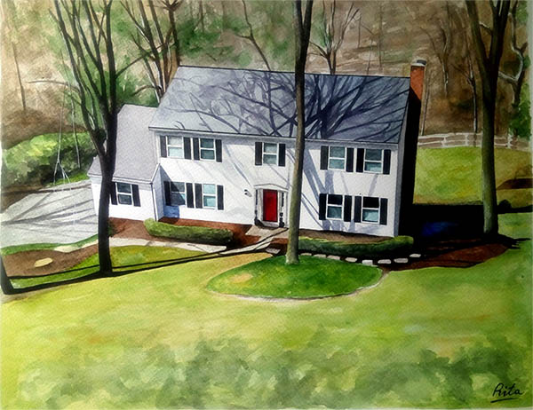 a watercolor painting of a house
