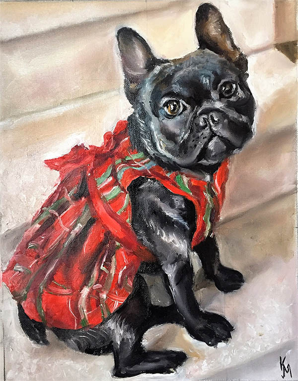 an oil painting of a french bulldog in a red dress