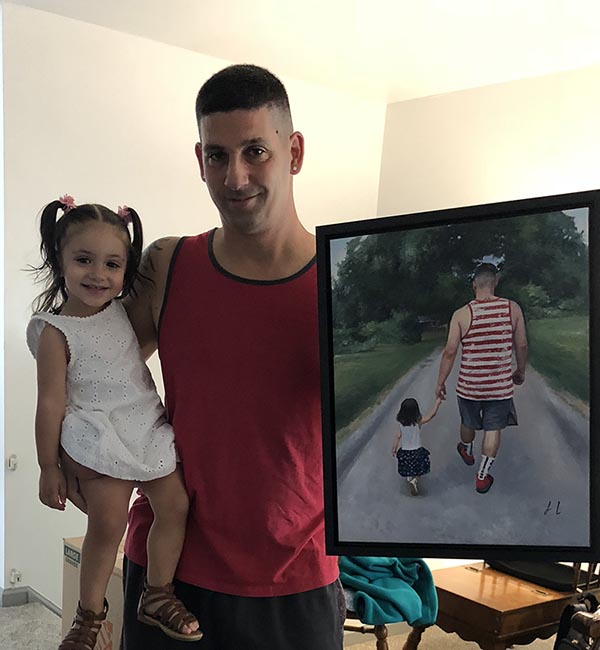 an oil painting of a father and daughter