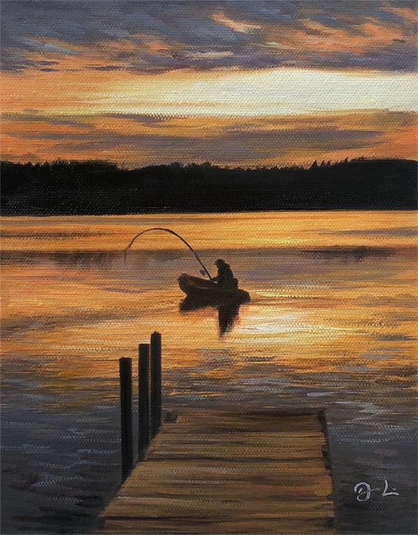 an oil painting of a fisherman landscape
