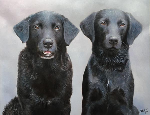 an oil painting of two black labs