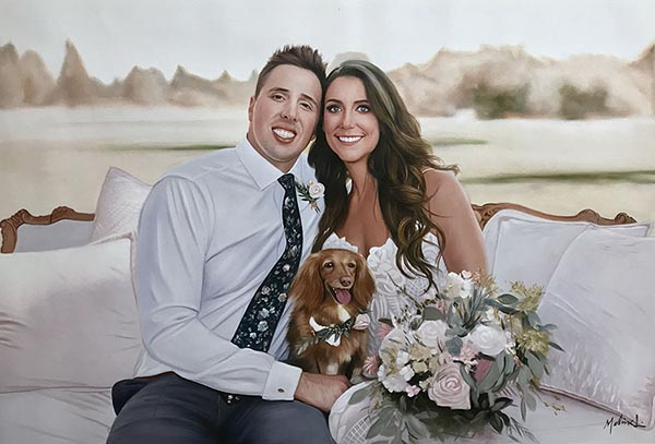 an oil painting of a couple cute wedding puppy dog