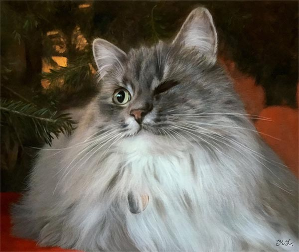 an oil painting of a cat long hair grey