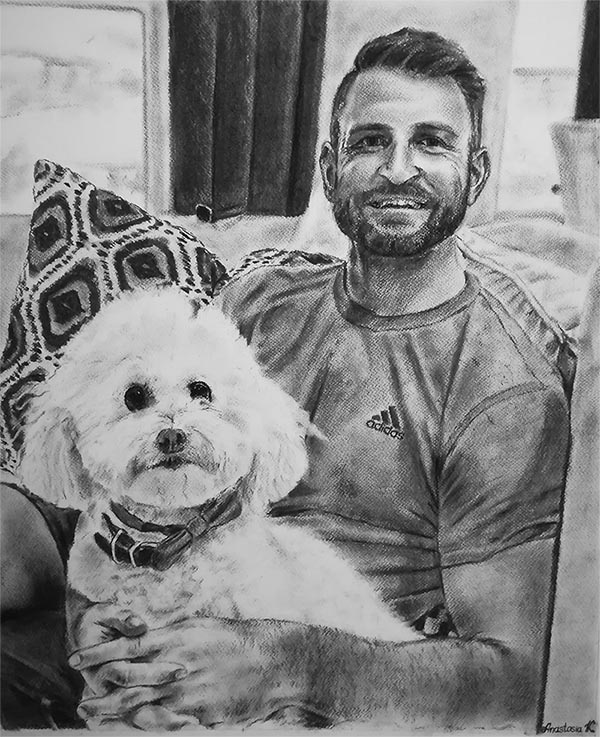 a charcoal drawing of a man with his poodle