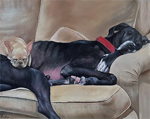 an oil painting of two dogs sleeping on a couch
