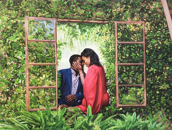 an oil painting of a couple in the garden
