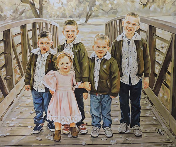 children standing on a bridge hand painted in pastel
