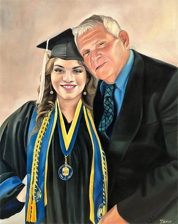an oil painting of graduation daughter and a father