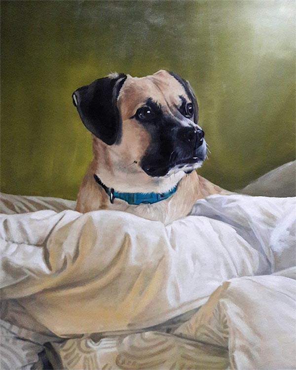 an oil painting of a mutt in bed