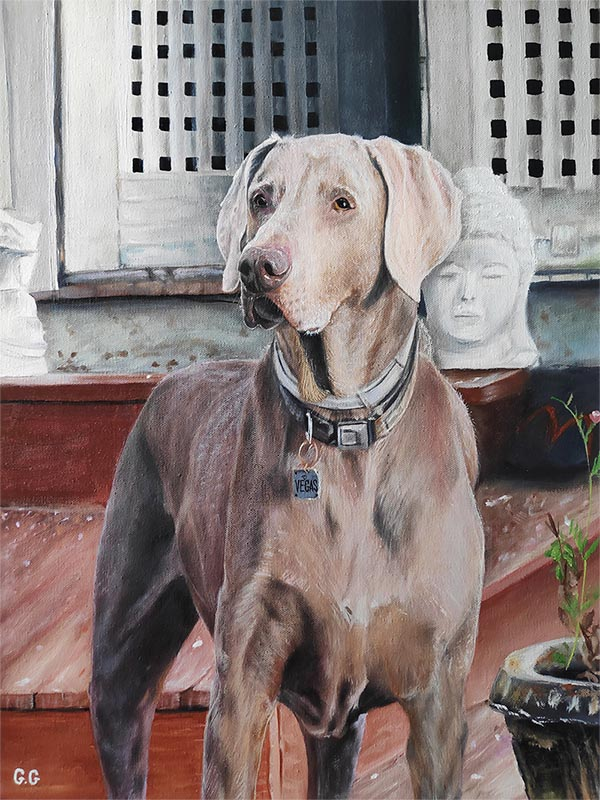 a handmade oil painting of a light grey dog in temple