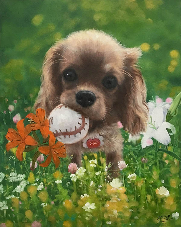 an oil painting of a tiny dog puppy ball in mouth