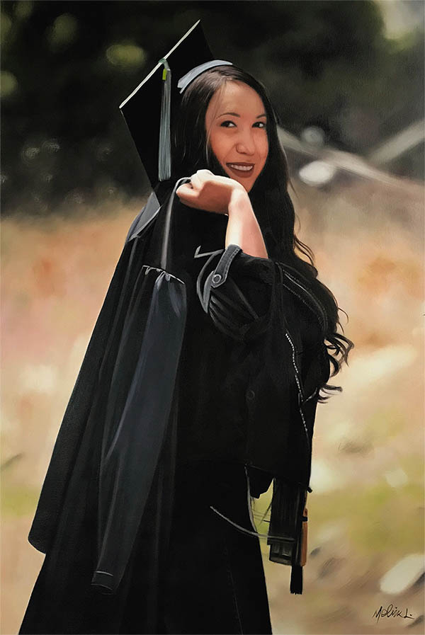 an oil painting of a student graduate graduation