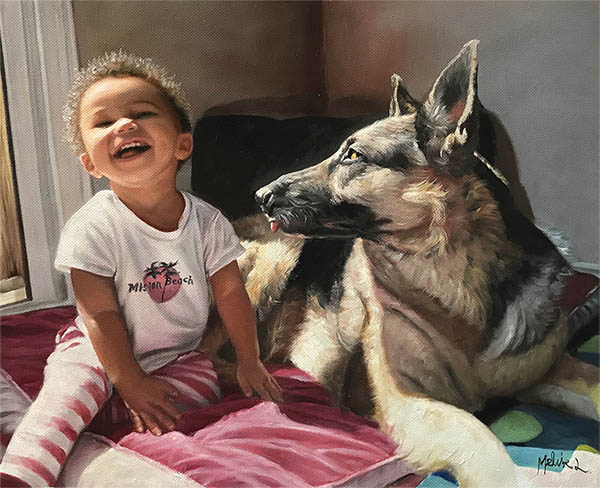 an oil painting of a toddler and a german shepherd