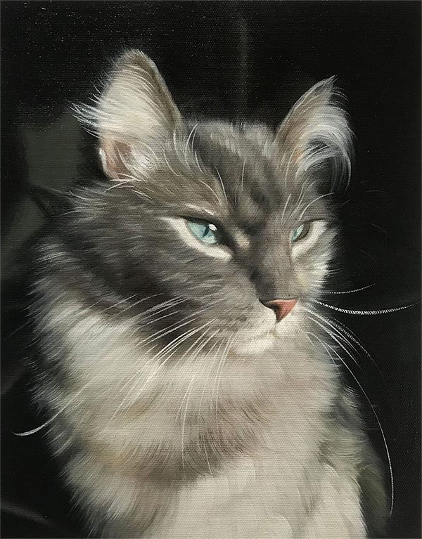 an oil painting of a majestic cat
