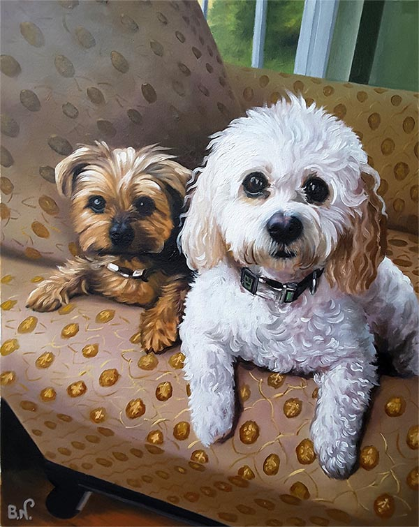 an oil painting of two dogs white and brown in an armchair