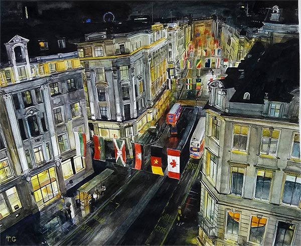 a watercolor painting of a night street lights