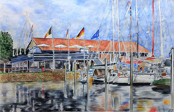 a watercolor painting of a photo by the small waterport