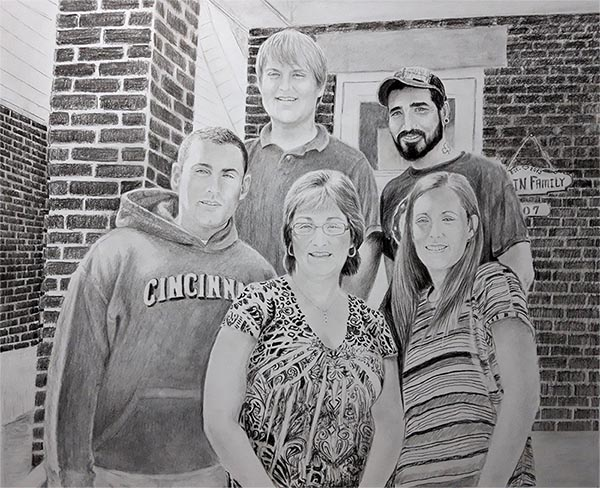 a charcoal drawing of a family infront of house