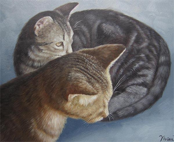 an oil painting of cat siblings