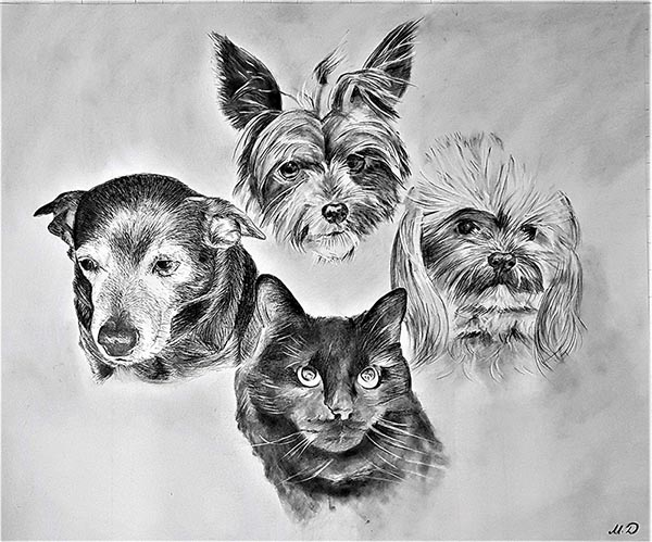 a black pencil drawing of dogs and a cat photos into painting art canvas